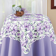 Embroidered Spring Lily Table Linens