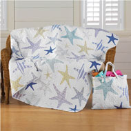 Blue and White Starfish Throw and Tote Set - 33665