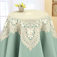 Embroidered Daisy Organza Table Linens