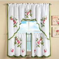 Hummingbird and Flowers Tier Curtain Set - 33704