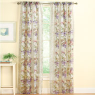 Floral and Scroll Sheer Curtain Panel - 33712