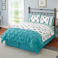 Embroidered Floral Charade Comforter Set with Bedskirt - 33748