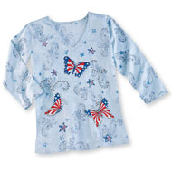 Patriotic Stars and Stripes Butterfly Top