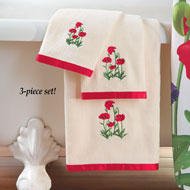 Embroidered Poppy Field Cotton Towels - Set of 3 - 33799
