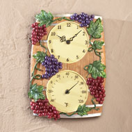 Grapevine Wine Barrel Clock and Temp Gauge - 34067