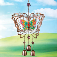 Bronze-colored Stained-Glass Butterfly Windspinner - 34078