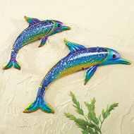 Glass Dolphin Wall Art - Set of 2