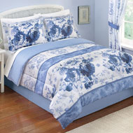 Julianne Blue and White Floral Comforter Set with Bedskirt