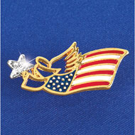 Patriotic American Flag Angel Pin - 34214