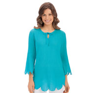 Scalloped Tie Neckline Tunic Top - 34318