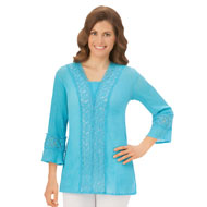 Elegant Lace V-Neck Tunic Top