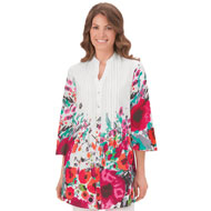 Floral Print V-neck Tunic Top
