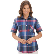 Red, White and Blue Plaid Camp Shirt - 34344