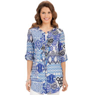 Abstract Print Roll Sleeve Tunic Top - 34345