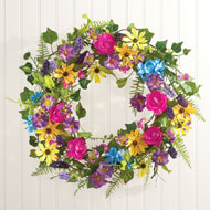 Mixed Floral Wreath with Yellow Daisies