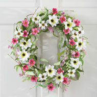 Pink and White Wildflower Spring Wreath - 34361