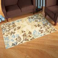 Brown, Blue and Beige Scattered Leaf Rug