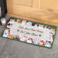 Cat Paw Prints on Your Heart Accent Rug