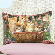 Cats in a Basket Throw Pillow
