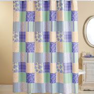 Floral and Striped Patchwork Shower Curtain - 34625