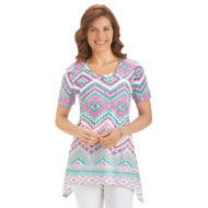 Southwestern Aztec Sharkbite Tunic Top - 34650