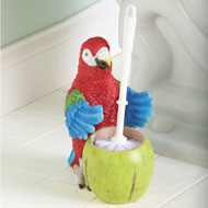 Tropical Parrot Toilet Brush Holder - 34666