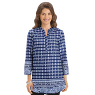 Blue and White Batik Print Tunic Top