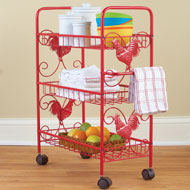 Red Metal Rooster 3 Shelf Rolling Cart