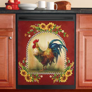 Sunflower and Rooster Country Dishwasher Magnet