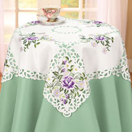 Lavender Roses and White Daisies Table Linens
