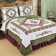 Woodland-inspired Pinecone Patchwork Quilt - 35444