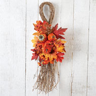 Fall Leaves Pumpkins and Berries Swag - 35452