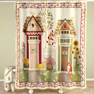 Country His and Hers Outhouse Shower Curtain