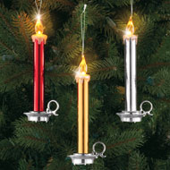 Taper Candle Christmas Tree Ornaments - Set of 3 - 35562