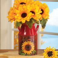 Red Antique Style Sunflower Milk Canister - 35574