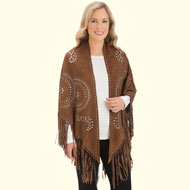 Faux Suede Cut-Out Shawl with Fringe - 35583