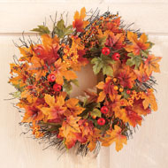 Berry and Autumn Leaves Twig Wreath - 35607