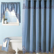 Embroidered Scroll Shower Curtain - 35638