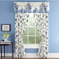 Nicole Blue Floral Drapery