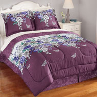 Butterfly and Floral Lilliana Comforter Set with Bedskirt