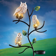 Owl Family on Tree Garden Stake with Solar Lights