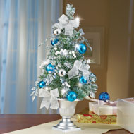 Frosted Blue and Silver Tabletop Christmas Tree - 35822