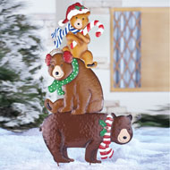 Holiday Winter Bear Family Stake