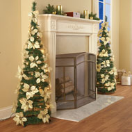 White Pull Up Poinsettia Christmas Tree - 35908