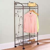 Metal Scroll Garment Rack With Shelves - 35955