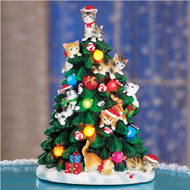 Lighted Cat Christmas Tree Figurine
