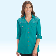Woven Lace Inset Shirt - 35980