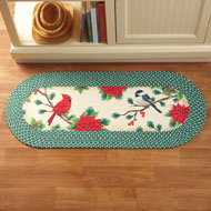 Festive Holiday Birds & Poinsettia Braided Rug - 35999