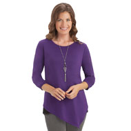Long Sleeve Asymmetrical Top with Necklace