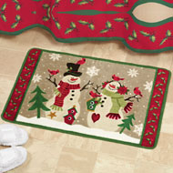 Country Snow Couple Bath Rug - 36374